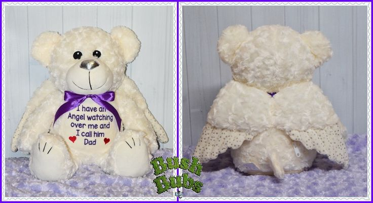 Truly gorgeous Angel bear, precious memory keeps sakes for the loss of a loved one, exclusively available from https://www.facebook.com/BushBubsclothingandEmbroidery/