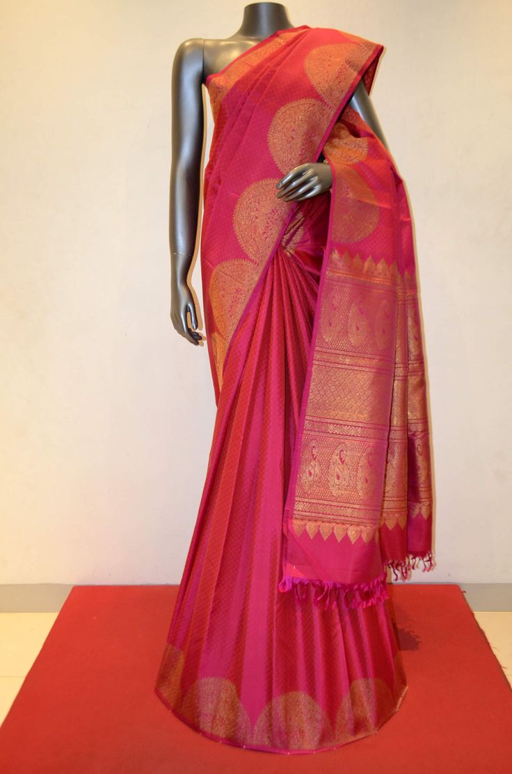 Pink Jacquard Kanjeevaram Silk With Traditional Turning Zari Border Product Code: AB210855 Online Shopping; http://www.janardhanasilk.com/index.php?route=product/product&search=AB210855&description=true&product_id=3948
