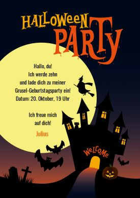 Tolle Einladungskarte zum Halloween-Kindergeburtstag!