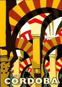 Cordoba, Spain vintage travel poster  arches, architecture
