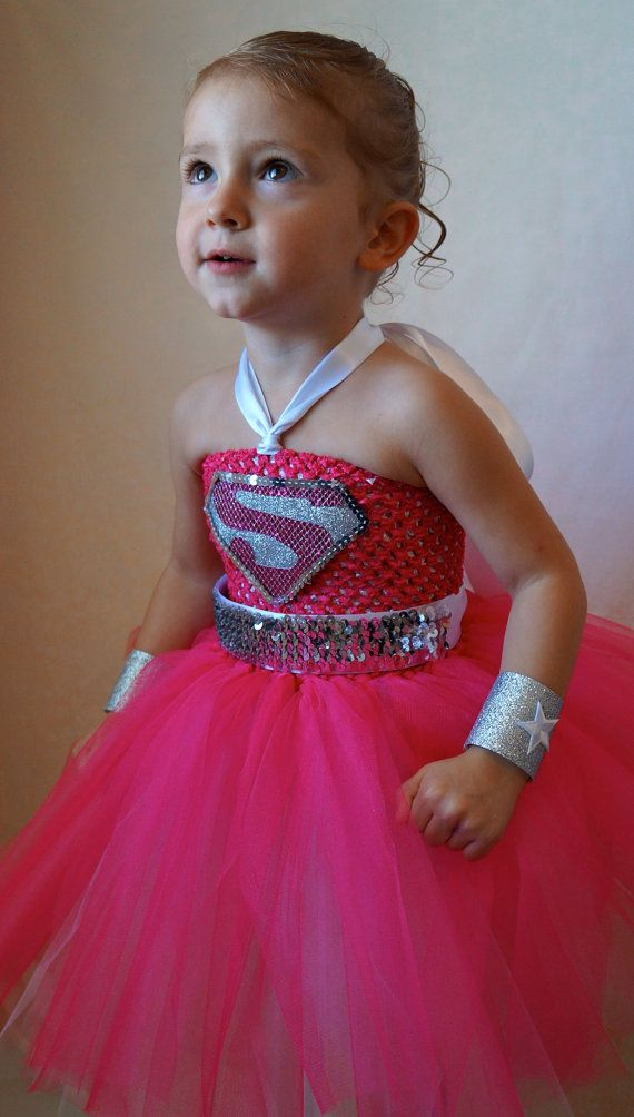 Made to order. Pink Super girl inspired tutu dress. Great for Birthday parties, Halloween, photo shoots or even dress up. on Etsy, $48.00