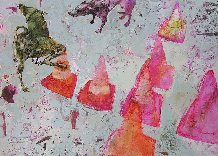 STREET GAMES I, original Animals Acrylic Painting by ula dzwonik