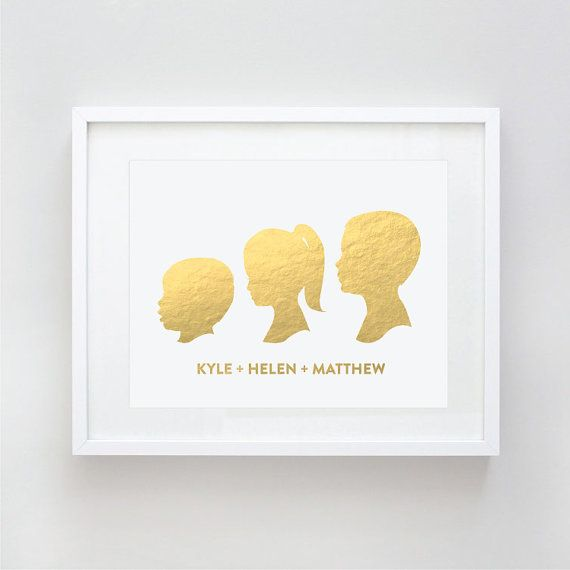 Custom Silhouette Portrait in Gold Foil Print by Le Papier Studio. Cute idea for Mother's Day.
