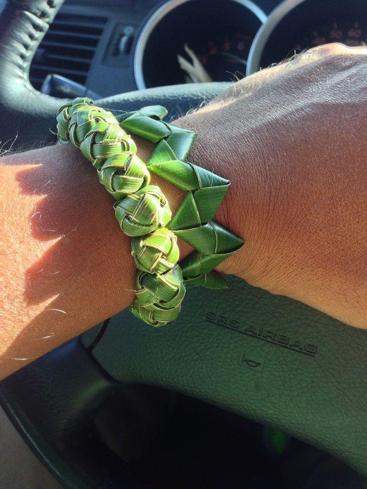 Woven palm frond bracelets