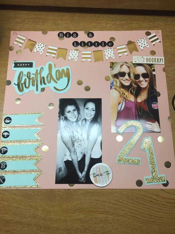 Shot day scrapbook page! #21 #birthday #sorority #shotday #big #little #scrapbook