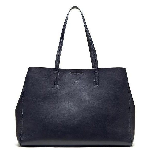 Banana Republic Womens Larkin Tote Size One Size - Navy blue ($140) ❤ liked on Polyvore featuring bags, handbags, tote bags, banana republic tote, patent leather tote bag, pocket purse, navy blue purse and navy purse