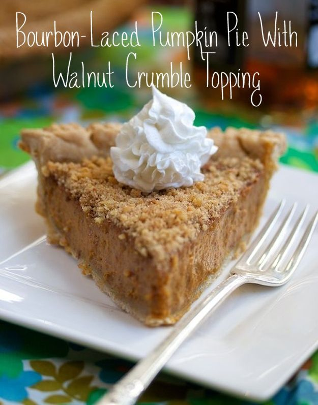 Bourbon Laced Pumpkin Pie with Walnut Crumble Topping
