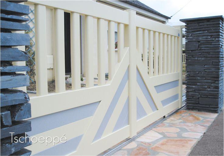 portail alu coulissant bicolore zenox line mod le delta. Black Bedroom Furniture Sets. Home Design Ideas
