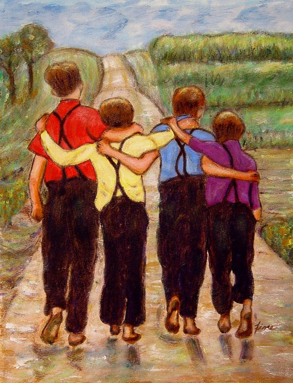 Four Brothers Original Acrylic Painting On Paper Amish