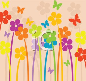 iCLIPART - Royalty Free Clipart Image of a Beautiful Floral Design With Spring Flowers and Butterflies