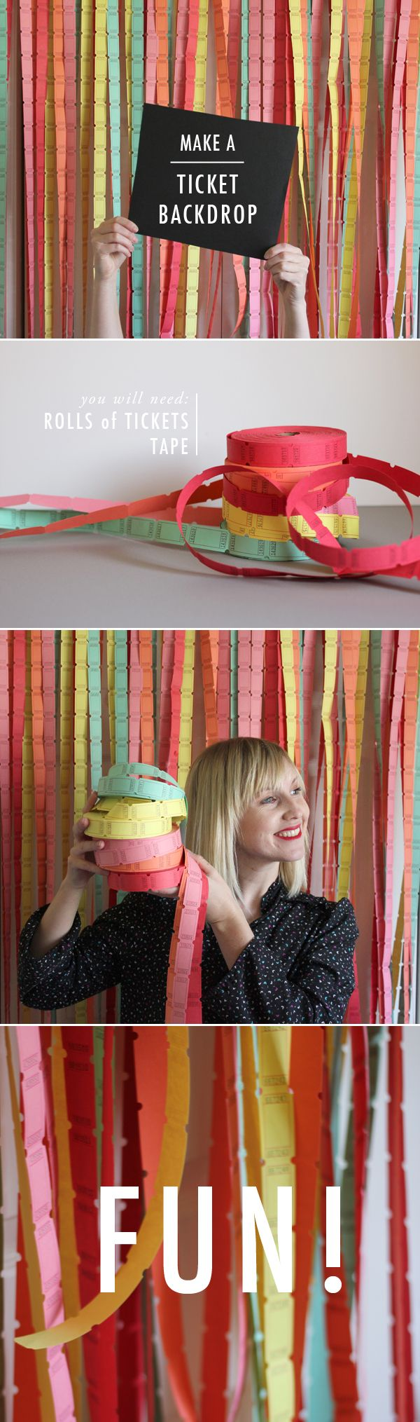 Perfect for a Circus Birthday Party! A TICKET-BACKDROP