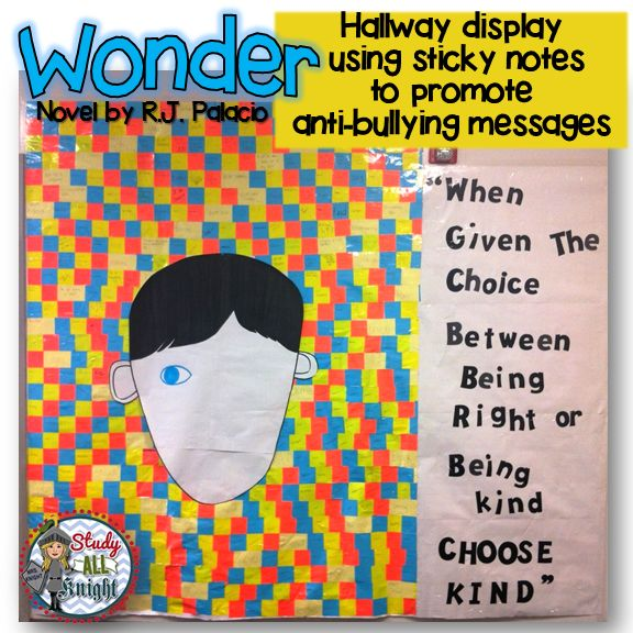 Wonder, written by R. J. Palacio. Hallway display using sticky notes. Each sticky note has a written positive message. The motive for the hallway display is to promote anti-bullying. The future educators concluded their novel study and then created this amazing display for outside my classroom. The grade 9 students participated in writing the messages. We love watching students stop and read the messages. Picture Only.  #Wonder #RJPalacio #FutureTeachers #TeacherCadets #TomorrowsTeachers