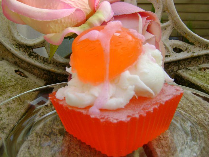 Strawberry melt cupcake soap