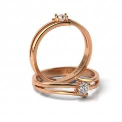 Inel de logodna cu diamant Timotei din aur roz