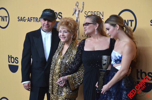Todd Fisher, Debbie Reynolds, Carrie Fisher & Billie Lourd with Debbie Reynolds Lifetime Achievement SAG Award Trophy #SAGAwards  http://www.redcarpetreporttv.com/2015/01/25/live-blog-screen-actor-guild-awards-winner-updates-sagawards/