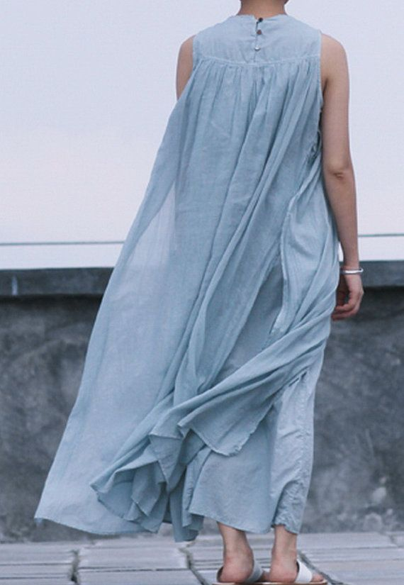 Dual Layer Loose Style Linen Dress by zeniche on Etsy