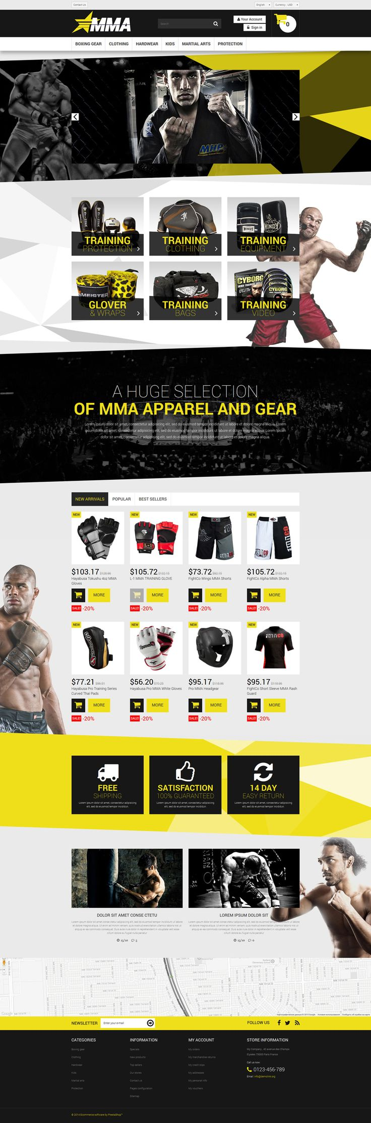 12+ Sports Shop Clothing & Accessories Ecommerce Website Templates (Sports Store PrestaShop Themes) - MMA Store Learn more @ https://buildify.cc/sports-store-prestashop-themes/