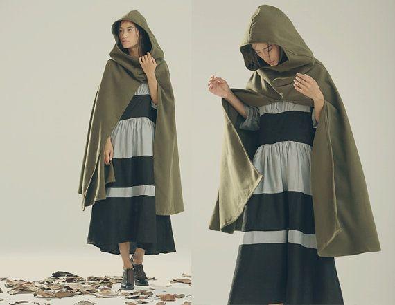 Hooded Wool Coat Jacket Wool Cloak in Green Wool by camelliatune