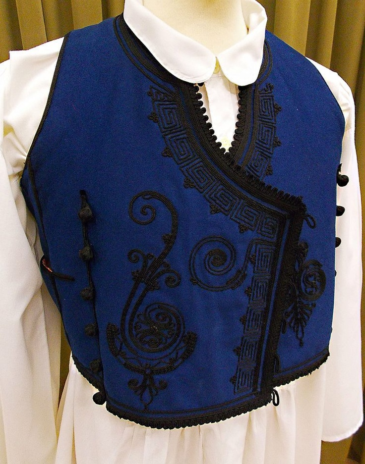 Embroidered sleeveless man's vest from Greece.  Clothing style: late 19th century. (This is a recent workshop-made copy).