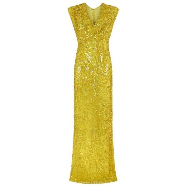 Jenny Packham Sleeveless Beaded Gown ($3,080) ❤ liked on Polyvore featuring dresses, gowns, gown, yellow ball gown, beaded dress, yellow evening dress, jenny packham gown and yellow evening gown