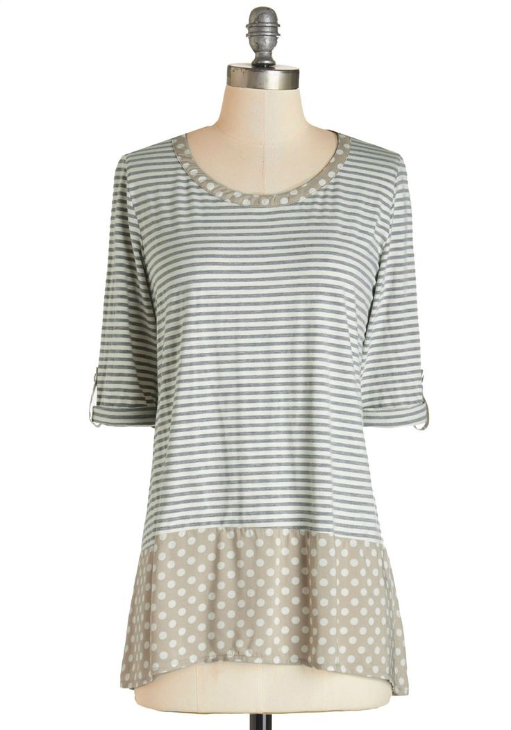 Me and Unique Top in Light. Be it work, a lazy Sunday, or a social luncheon, this grey- and white-striped top is your trusty sidekick, comfortable and ready for infinite style possibilities! #multi #modcloth