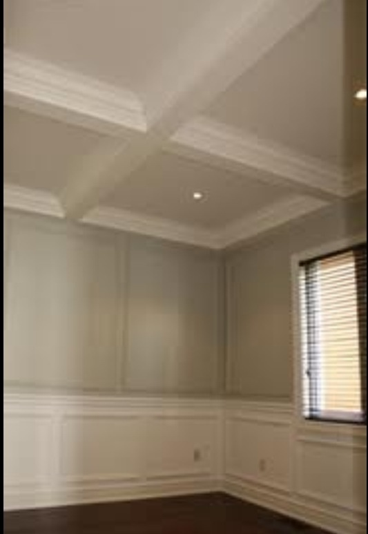 wainscoting ceiling ideas - Coffered ceiling & wainscoting