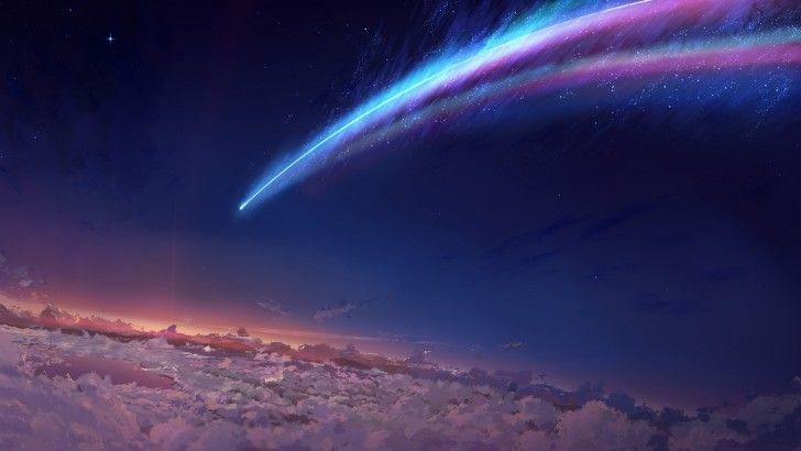 Night Sky Scenery Comet Clouds Sunrise Your Name. Anime Art Wallpaper