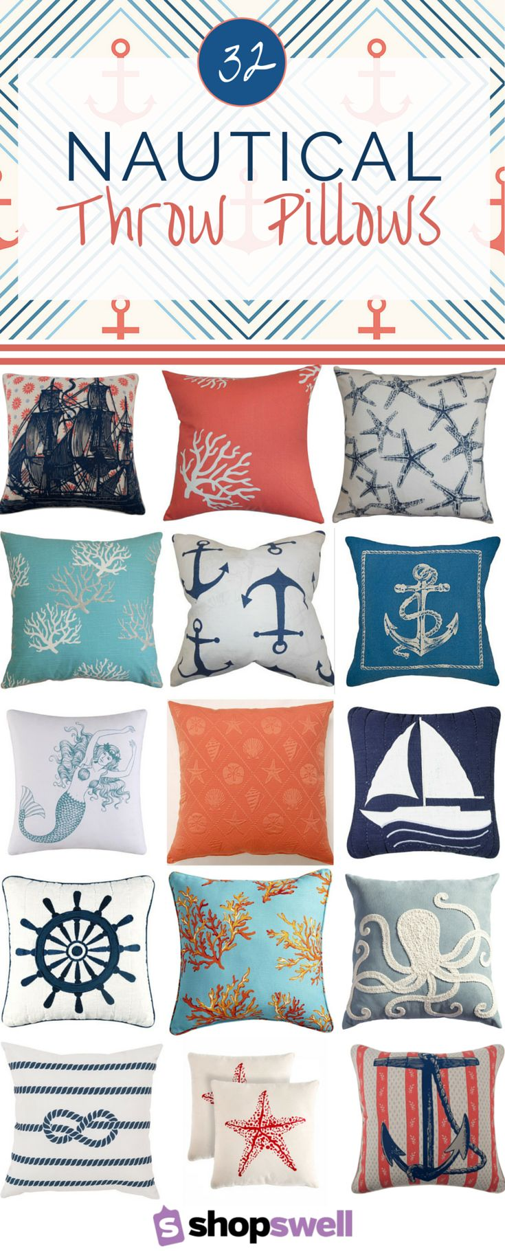 Add a little maritime flair to your space with one of these fabulous nautical throw pillows.
