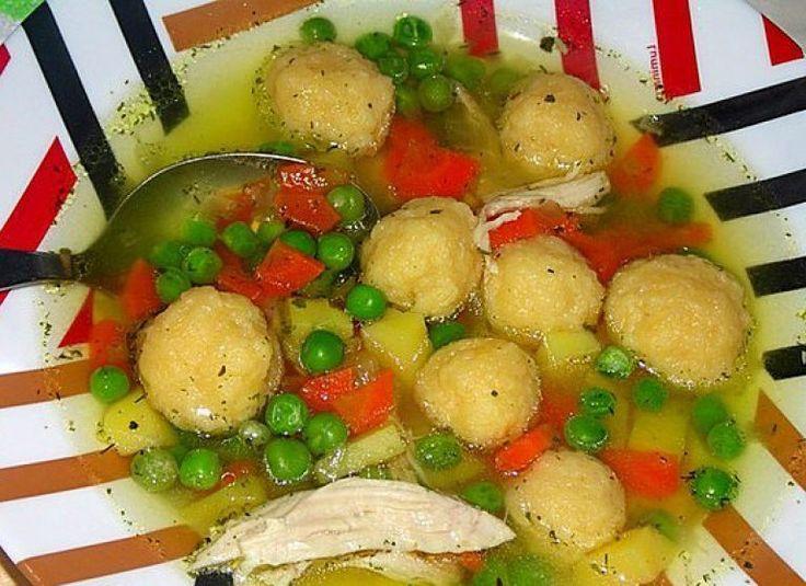 Куриный суп с сырными клёцками и зелёным горошком | Самые вкусные кулинарные рецепты