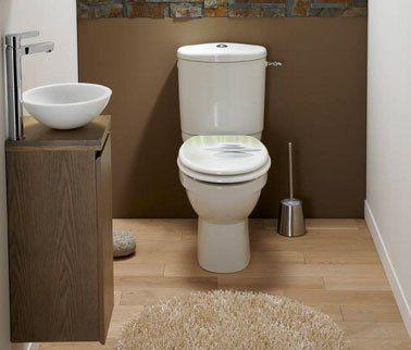 WC couleur taupe et gris meuble de rangement sous le lave-main