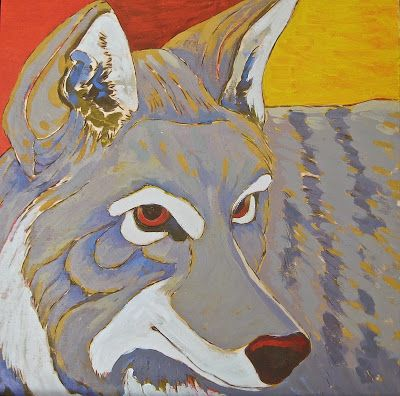 Arts II: Paintings and Fabric Arts  Pyrographic lines and fluid acrylic paints for the coyote.  This is base coat.