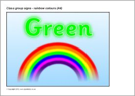 Rainbow colours class group signs - A4 (SB8507) - SparkleBox