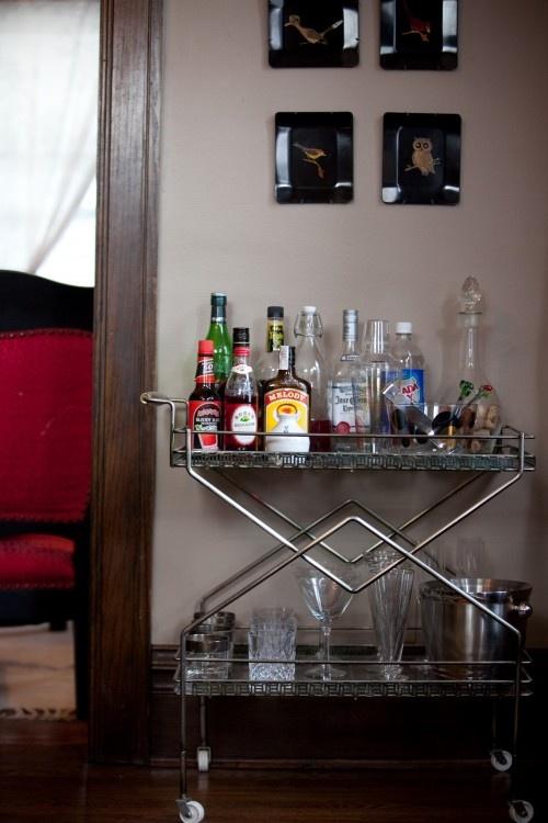 "The rolling cart ""mini-bar""!   Birdhouse Interior Design Consulting"