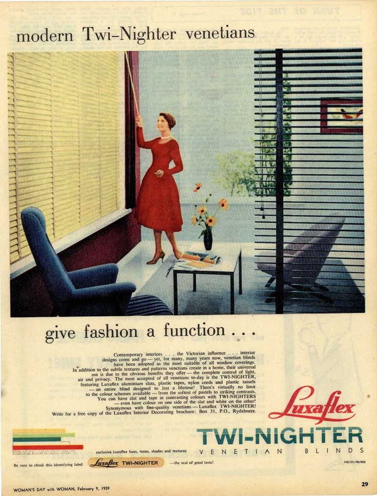 Luxaflex ad from Woman's Day - February 9, 1959