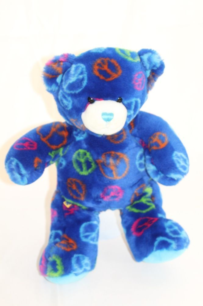 "Build A Bear Plush Blue Peace Signs 14"" Stuffed Cuddly Toy Bear Neon Retired #BuildaBear"