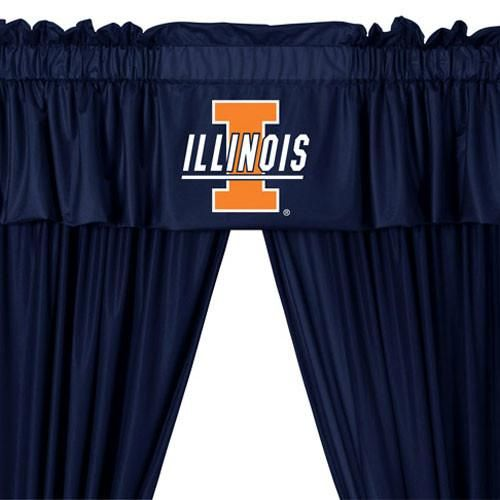 NCAA Illinois Fighting Illini 5pc Curtains and Valance Set: 63drop