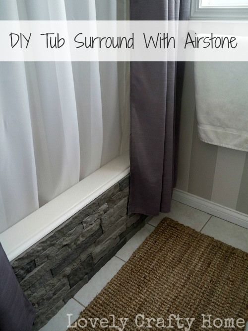 DIY:  Tub Surround Using Airstone - what an awesome project! The tub was fine, but with this stone veneer, it now looks awesome! Airstone is installed with caulk, is lightweight & it looks so realistic. This would be a great way to cover damaged walls, an unattractive fireplace or tile backsplash, etc.