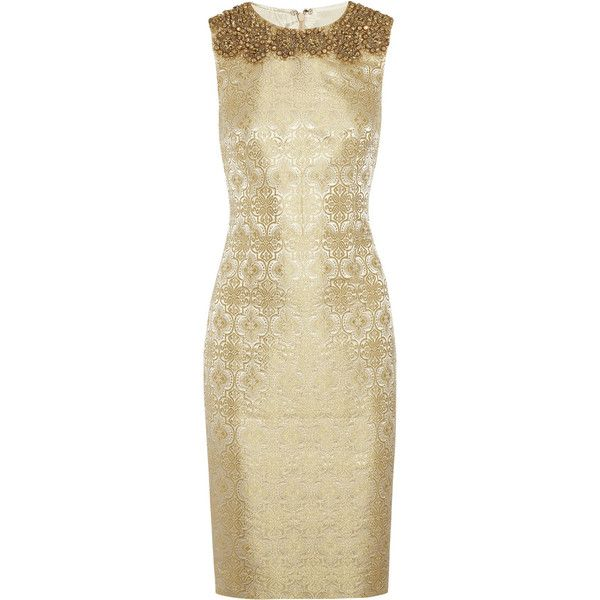 Vera Wang Embellished brocade sheath dress found on Polyvore