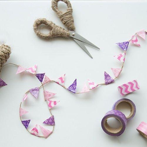 We made Washi Tape buntings made for a shoot  #wednesdaywhimsy #DIY #giftwrap #washitape #favorite #decoronabudget