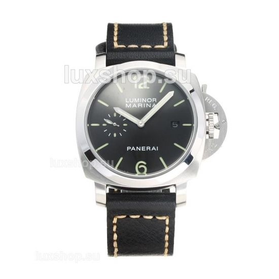 Panerai Luminor Marina Automatic with Black Dial Leather Strap-1 - Click Image to Close