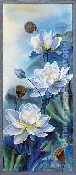 """Купить панно """"Лотосы"""", батик - батик панно, холодный батик, картина батик, Батик, цветы"""