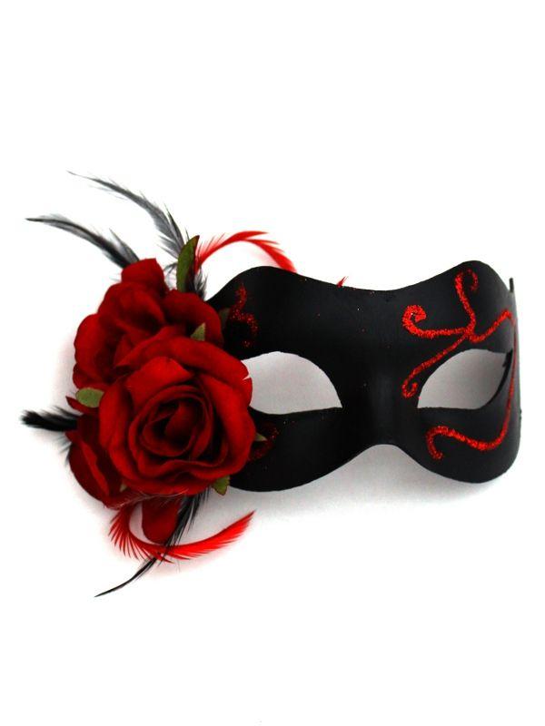 Beautiful Gothic Black & Red Rose Venetian Mask - Masque Boutique