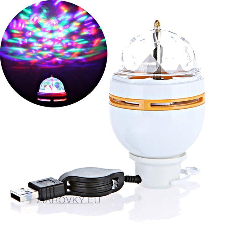 Rotujúca LED žiarovka na USB – E27, 3W, RGB je rotujúca disco žiarovka so skvelým svetelným efektom pripojiteľná cez USB. Žiarovka je super doplnok na party, večierky, firemné akcie, do baru alebo do domácnosti na zlepšenie nálady. Rotujúca LED žiarovka na USB má unikátnu automaticky otočnú konštrukciu s päticou E27. RGB kryštáľ zaisťuje veľmi krásne a svetlé osvetlenie, ktoré má efekt javiskového svetla.Vynikajúci výkon a spoľahlivá kvalita splní vaše vizuálne uspokojenie.