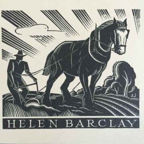 EX-LIBRIS-BOOKPLATE-AUSTRALIAN-Allan-Jordan-1898-1982-Helen-Barclay