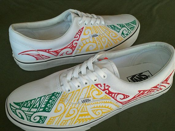 Custom Rasta Color Polynesian Vans by LiONSiNK on Etsy, $100. If I don't make these... I plan to buy them. Or force Kat to make them for me (using Keen shoes or Toms or something else). Mwaha.