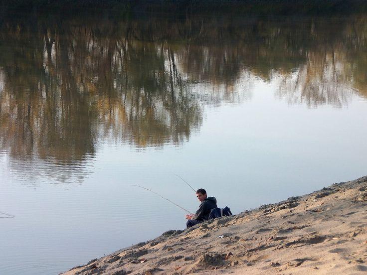 Horgász a Tisza-parton