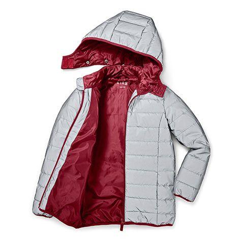 Reflexní prošívaná bunda, kombinace stříbřitě šedé a vínové