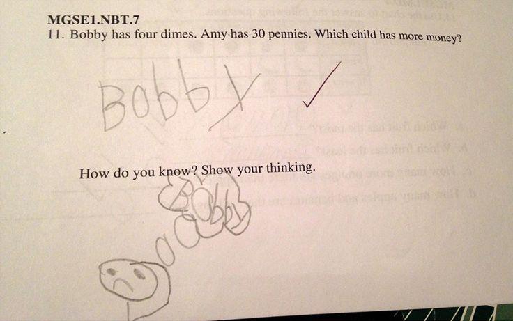 Het antwoord dat deze 6-jarige op zijn rekentoets gaf, is echt geniaal