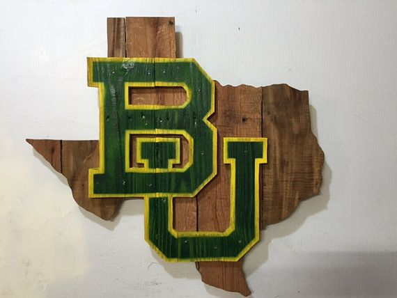 Baylor University BU rustic Texas wooden wall sign
