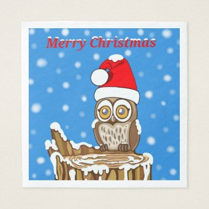 Snowflake the Owl at Christmas Paper Napkin - animal gift ideas animals and pets diy customize